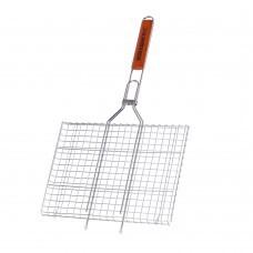 Двойная хромированная решетка с деревянной ручкой BQ-40D