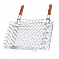 Двойная хромированная решетка-корзина для гриля с двумя ручками МЕГА S-103